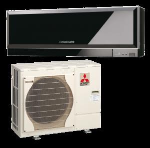 matériel représentant une pompe à chaleur air/air de couleur beige et noir