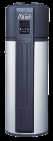 modèle de chauffe-eau thermodynamique de couleur gris et noir